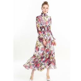 Vestido de seda primavera mujer maxi online-Diseñador de calidad superior Runway Maxi Vestido 2019 Moda Primavera mujer manga larga estampado floral de seda gasa vestido largo bohemio vestido
