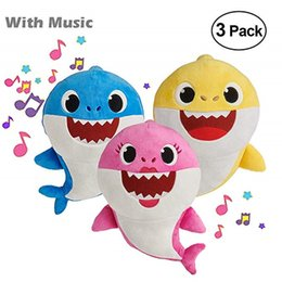 wholesale party toys Coupons - 12INCH BABY SHARK Plush Toys 30CM Music English Songs Singing 12'' Stuffed&Plush Dolls Sing Music Shark Toy Party Collectible Interactive