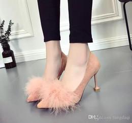 talons de travail moyens Promotion 2019 nouvelles chaussures poilues et chatières à talons hauts et moyens