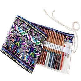 Rotolare i sacchetti di stoccaggio online-Hot 36/48/72 Holes Canva Wrap Roll up Pencil Case Pen Sacchetto di immagazzinaggio del supporto Pouch New Pencil Bag Pen Case Studenti Materiale scolastico