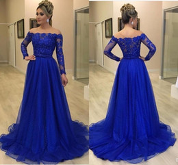 robes red carpet Promo Codes - Elegant Royal Blue A Line Evening Dresses Bateau Neck Lace Tiered Tulle Floor Length Pageant Dress Evening Gowns robes de soirée Vestidos
