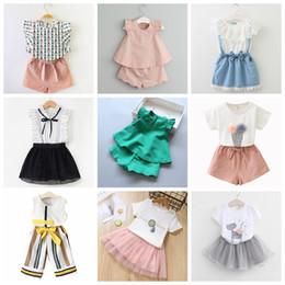 ribbon suits Promo Codes - 2-7T Baby Girl Clothes Fashion Cartoon Girls Summer Set Clothes Baby Suits Kids T Shirt +Pants Children Clothing Set good quality boutiques