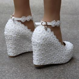 Argentina Crystal Queen Cuñas Blancas Bombas de Boda Dulce Flor de Encaje Blanco Perla Plataforma Zapatos de bomba Vestido de Novia Tacones Altos 4 sdas Suministro