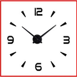 flores 3d de plastico para pared Rebajas 2019 reloj de pared grande reloj de cuarzo espejo de acrílico de bricolaje 37 pulgadas relojes modernos todavía vida sala de decoración del hogar pegatinas 3D que viven