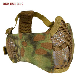Schutzmaske militär online-Faltbare Half Face Mesh-Maske mit Ohrenschutz Military Tactical Untere Gesichtsschutzmaske