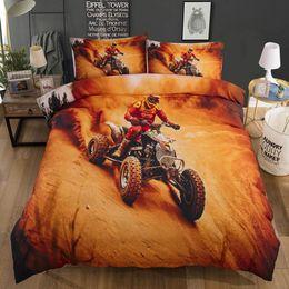 cama de tamanho king amarelo Desconto Bonenjoy Yellow 3D Lençois Motociclismo conjunto de cama King Size 3d capa de edredão Define Crianças única cama para crianças
