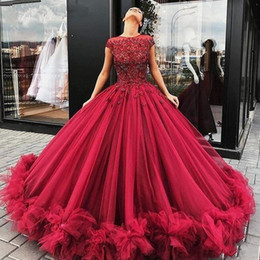short gold sequin prom dresses Coupons - Burgundy Princess Prom Formal Dresses 2020 Puffy Floral Lace Beaded Liastublla Design Lace Tutu Full length evening gown wear