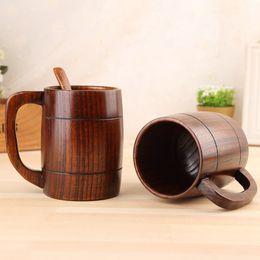 tasses en bois Promotion 400ML En Bois Classique Bière Tasse À La Mode Thé Tasse À Café Bouteille D'eau Anti-Chaleur Partie À La Maison Bureau Verre TTA1797