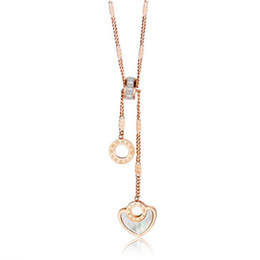 titan herz anhänger kettenglieder Rabatt Gold Silber Gliederkette Anhänger Halsketten für Frauen Mädchen Schmuck Titan Stahl Herzform Halskette Geschenke