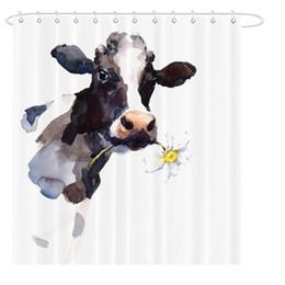 Cortinas de pintura online-Vaca Cortina de ducha Flor Flor Animal Pintura Arte Baño Decoración Poliéster impermeable con ganchos