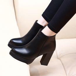 Осень зима женщины ботильоны высокие каблуки коренастый каблуки 7 см 10 см платформа искусственная кожа короткие пинетки черный Женская обувь хорошего качества ADF-5874 от