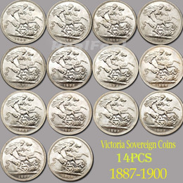 téléphone de bureau vintage Promotion 14pcs ensemble complet UK Coins Horse Sword Reine Chevalier Silver Coins Collection Victoria
