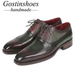 zapatos formales verdes Rebajas GOSTINSHOES HECHOS A MANO Goodyear Welted Handmade Shoes para hombre Brogues formales Zapatos Verde de cuero de vaca Punta estrecha con cordones Oxfords SCZ029