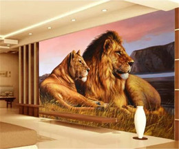 Carta da parati interna online-Foto 3d Wallpaper HD African Grassland Ferocious Lion Indoor TV Sfondo Decorazione murale Carta da parati
