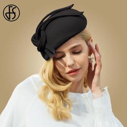 FS Fascinators Boda Negro Para Mujeres Elegante Sombrero de Bowknot de Lana  Sombreros Sombrero de Fieltro de Fedora Vintage Sombrero de Cóctel Señoras ec4c6e4fdce2
