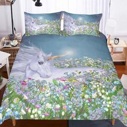 biancheria da letto arancione Sconti 12 disegni 3D biancheria da letto unicorno set copripiumino realistico lenzuola con federa letto trapunte set matrimoniale doppia king size home decor