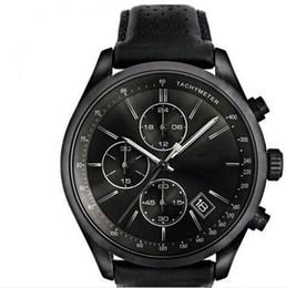 Mode Quarz Chronograph Herrenuhr Tachymeter Lederarmband Uhr 1513474 + Box von Fabrikanten