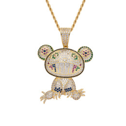 2021 jóia da rã do ouro New Iced out Bling Pendant Necklace Hip hop Jewelry Frog Necklace Gold Color Cubic Zircon Men's Women Gift