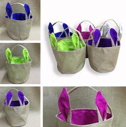 novo coelhinho da páscoa Desconto Nova bolsa de ombro bonito casa grande capacidade de cor bolsa de linho coelhinho sacos de Páscoa balde saco de Armazenamento em casa Sacos T8D011