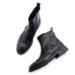 2019 zapatos de pedicura Nuevo clásico Mengke botas de cremallera lateral de cuero de caballero caballero de los hombres botas pedicura negro puro zapatos de los hombres salvajes rebajas zapatos de pedicura