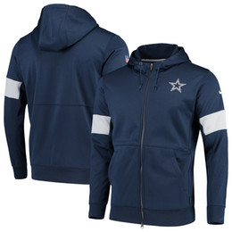 2019 militärische grüne fleecejacke Majestic Mens CowboysDallas Authentic Sweatshirt Weinlese NFLSideline Performance-Full-Zip Hoodie