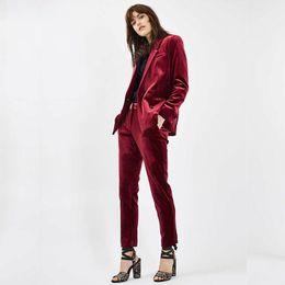 Костюмы стилей онлайн-New velvet Formal Suits for Women Casual Office Business Suitspants Work Wear Sets Uniform Styles Elegant Pant Suits