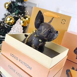 bambole francesi Sconti 2019 portachiavi firmati cute doll cuoio bulldog francese portachiavi ciondolo borsa alla moda confezione regalo di marca