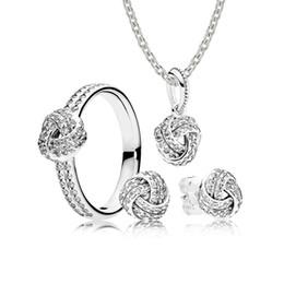 2019 14k anel de ouro amarelo pedra 100% 925 VENDA de Prata Esterlina-Sparkling Love Knot Presente Encantos Set Anéis DIY Jóias Originais Um conjunto de preços