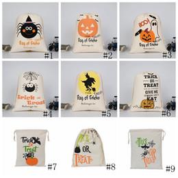 pulseiras de plástico Desconto Saco de Doces saco de Presente de Halloween Tratar ou Truque Abóbora Impresso Lona Sacos de Festa de Natal Hallowmas Festival Cordão Saco GGA2558