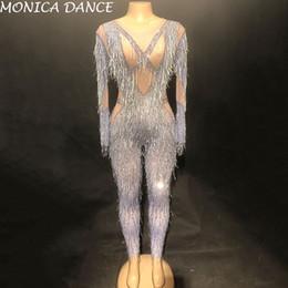 2019 usura della fase d'argento Tuta Donna Sexy Tuta Argento Nappa Bling Spumanti Cristalli Tuta Nightclub Party Stage Wear Dancer Singer Tuta usura della fase d'argento economici