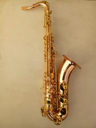 Musikhandschuhe online-Hohe Qualität YANAGISAWA T-992 B Tenor Saxophon Phosphor Bronze Goldlack B Flache Musikinstrument Mit Fallhandschuhe Mundstück