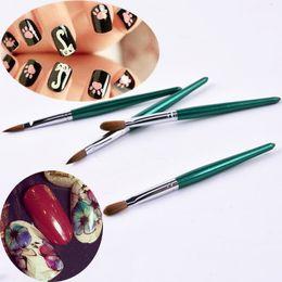 2019 cheveux poly 1 Pcs Nouveau 100% Kolinsky Sable Cheveux Acrylique Brosse À Sertir UV Poly Gel Brosse Builder Manucure Rond Vert Bois Ongles promotion cheveux poly
