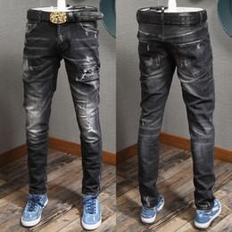 2019 i modelli dei pantaloni dei jeans dei ragazzi Jeans strappati di forma fisica dei jeans di forma fisica di progettazione di torsione del jeans dei jeans strappati lavaggio del ragazzo sconti i modelli dei pantaloni dei jeans dei ragazzi