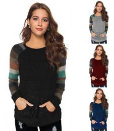 Blusa con capucha online-Remiendo de las mujeres poket camiseta a rayas Blusa de manga larga Loose Fit Tops Pullover cuello redondo Casual home hoodie AAA1771