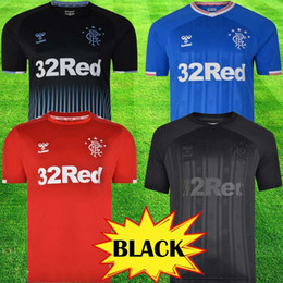 black equipment Promo Codes - 2019 New Rangers FC Black Edition Soccer Jerseys 2019 2020 red black kits Glasgow Rangers equipment Football Shirt Uniform tops tee Maillot