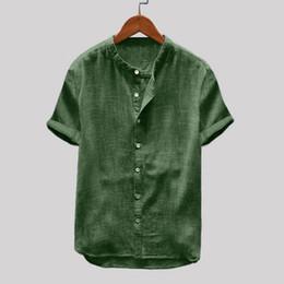 Vêtements en lin confortables en Ligne-2019 nouvelle chemise marque vêtements pour hommes doux et confortable sac à main en coton couleur unie lin à manches courtes rétro chemises tops blouse