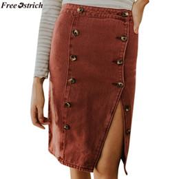2020 mini falda corta mujer Venta al por mayor falda harajuku Mujeres Moda Botón Elástico Denim Abrir Casual Boot Cut mini faldas para mujer tamaño plu sexy mini falda rebajas mini falda corta mujer