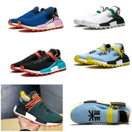 2019 cielo corriendo zapatos Calidad superior 2019 Humanrace Hu Inspiration Pack zapatillas Clear Sky Powder Blue Pharrell Williams zapatillas de deporte inferiores basf reales cielo corriendo zapatos baratos