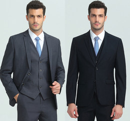 Por encargo Slim Fit Dos botones Padrinos de boda Solapa Novio Esmoquin Azul Trajes de hombre Boda / Prom Best Blazer (chaqueta + pantalón + chaleco) HY6020 desde fabricantes