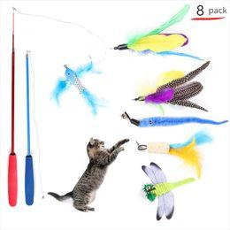 gato llevó la pluma Rebajas 8pcs / Pack Pet Supply Cat Toy Colorful Feather Tease Cat Stick Pet Catcher Teaser Toy Dragonfly Fish Feather Kitten Divertidos juguetes interactivos
