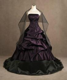 Canada Robes de mariage train violet et noir Quinceanera robe formelle Pageant sans bretelles robe de grande taille occasion Offre