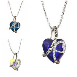 Colar de cristal azul oceano on-line-Eu te amo para sempre colar coração do oceano clavicular cadeia mulheres liga pingente de cristal edc jóias azul partido favor 7 5yn c1