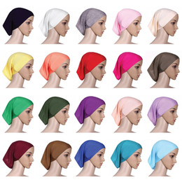 ladies muslim cap Coupons - Muslim Women Headscarf Cap Fashion Lady Solid Color Turban Soft Clsaaic Beanie Hat Lady Beach Sun Scarf TTA1805