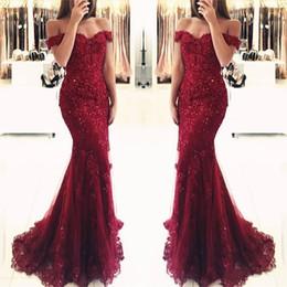 vestidos de fiesta rosa cariño suave Rebajas Vino rojo burdeos vestido de fiesta de encaje sirena apliques vestidos de noche fuera del hombro 2019 Vestido De Festa lentejuelas con cuentas vestidos de fiesta largos