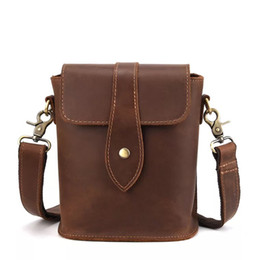 1987a72338 Genuine Leather Mens Bags Male Crossbody Bags Small Flap Casual Messenger  Bag Men s crazy horse leather Tote Bag vintage discount crazy horse bags