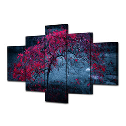 Quadri telaio online-Quadri su tela Wall Art Home Decor HD Stampe 5 pezzi Albero Foglie viola Autumn Paintings Living Room Abstract Poster No Frame