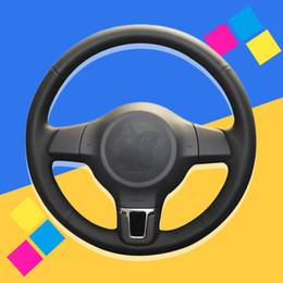 Jetta mk6 ruote online-Auto treccia su Il coperchio volante per Volkswagen Golf 6 Mk6 Jetta 6 Polo 2011-2014 fai da te Accessori auto interni auto-styling