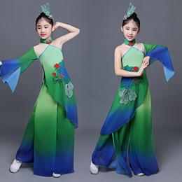 chinês ventilador verde Desconto Dança clássica verde para meninas fan dança traje chinês fãs festival desempenho vestuário crianças guarda-chuva