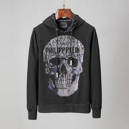 Camisola do crânio dos homens on-line-19ss criativo italiano crânio-cabeça impressa hoodie dos homens com hoodie sweater de algodão camisola top Harajuku dos homens e mulheres de diamante incrustado