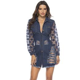 Xxl lange hülse spitze kleider online-HEE GRAND Lace Denim Jacken XXL Damen Herbst Washed Langarm Jeans Outwear Einreiher Ripped Jacket Denim Kleid WWJ961